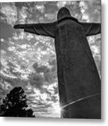 Big Jesus - Christ Of The Ozarks In Black And White Metal Print
