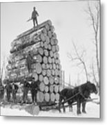 Big Load Of Logs On A Horse Drawn Sled Metal Print by Everett