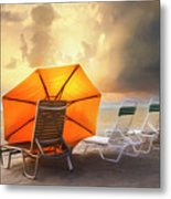 Big Orange Beach Umbrella Watercolor Painting Metal Print