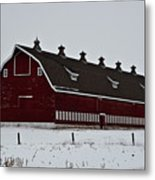 Big Red Barn In The Winter Metal Print