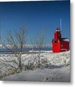 Big Red Lighthouse In Winter Metal Print