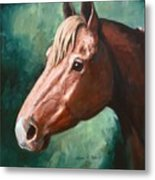 Big Red Snip    Horse Painting Metal Print