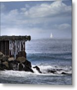 Big Sea Small Boat Metal Print