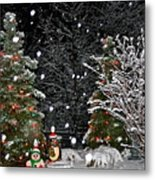 Big Snow Flakes    Holiday Card 6 Metal Print