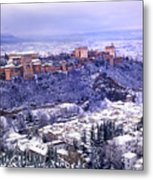 Big Snow In The Alhambra Granada  Metal Print