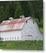 Big White Old Barn With Rusty Roof  Washington State Metal Print