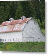 Big White Old Barn With Rusty Roof  Washington State Metal Print
