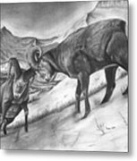 Bighorn Sheep The Battle For Supremacy Metal Print