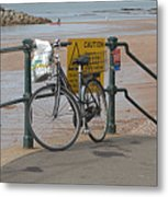Bike Against Railings Metal Print