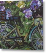 Bike And Bush Metal Print