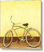 Bike And Yellow Wall Metal Print