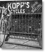 Bike At Kopp's Cycles Shop In Princeton Metal Print