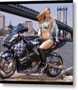 Bike, Babe, And Bridge In The Big Apple Metal Print