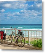 Bike Break At The Beach Metal Print