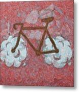 Bike-cloud Red - Da Metal Print
