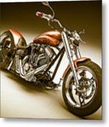 Bike In Bronze Metal Print
