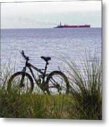 Bike On The Bay Metal Print