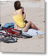 Bike On The Beach Metal Print
