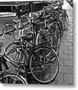 Bike Parking -- Amsterdam In November Bw Metal Print