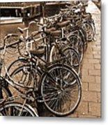 Bike Parking -- Amsterdam In November Sepia Metal Print
