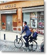 Bike Ride In Bordeaux By The Apollo Metal Print