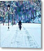 Bike Riding In The Snow Metal Print