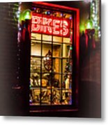 Bike Shop Window Metal Print