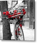 Bike With Red Roses Metal Print