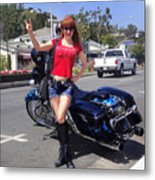 Biker Girl. Model Sofia Metal Queen Metal Print
