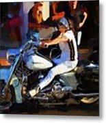 Biker Lady Metal Print