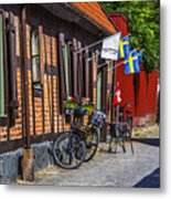 Bikes And Flags Metal Print