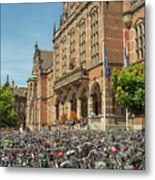 Bikes In Front Of Dutch University Metal Print