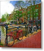 Bikes On The Bridge Metal Print