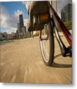Biking Chicagos Lakefront Metal Print