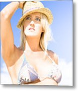 Bikini Lady Against Blue Sky Background Metal Print