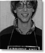 Bill Gates Mug Shot Vertical Black And White Metal Print