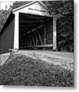 Billie Creek Covered Bridge Black And White Metal Print