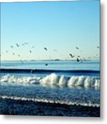 Billowing White Waves And Seagulls Metal Print