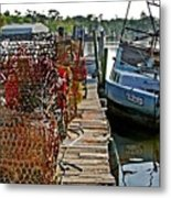 Billys Nets And Sinking Work Boat Metal Print