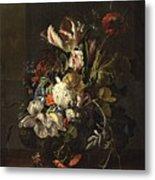Bindweed And Chrysanthemums Metal Print