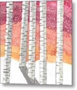 Birch In The Snow Metal Print