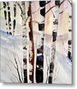 Birch In The Snow Metal Print