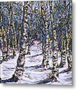Birch Tree Mosaic 2 Metal Print
