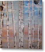Birch Trees - Clouds Metal Print