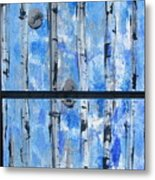 Birch Trees - Blue Metal Print