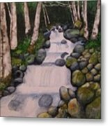 Birch Trees By The Brook Metal Print