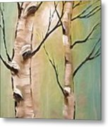 Birch Trees Color Pencil  Metal Print