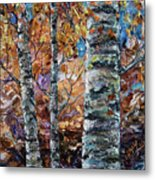 Birch Trees Oil Painting With Palette Knife  Metal Print
