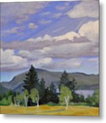 Birches in the Wind Metal Print