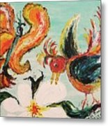 Bird And Butterfly Metal Print by Suzanne  Marie Leclair